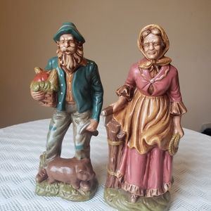 Vintage Bisque Ceramic Figurine Set